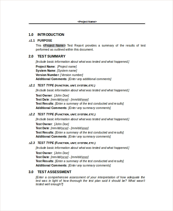 10 test report templates sample templates for Dr test report template