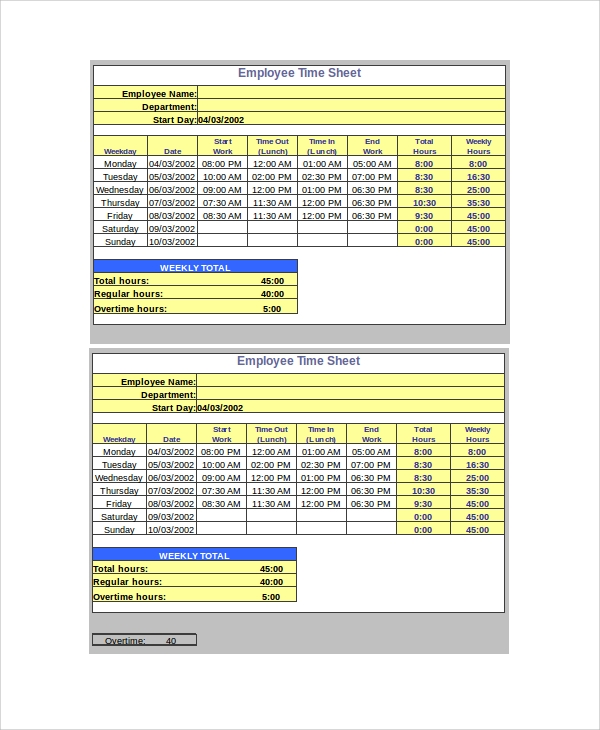 sample timesheet calculator