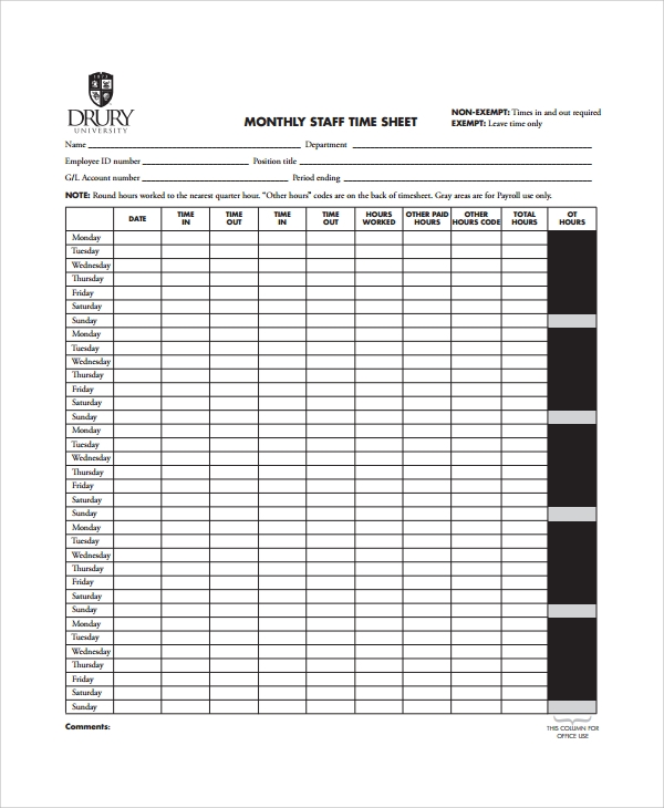 Sample Timesheet Calculator   Free Documents Download In Word