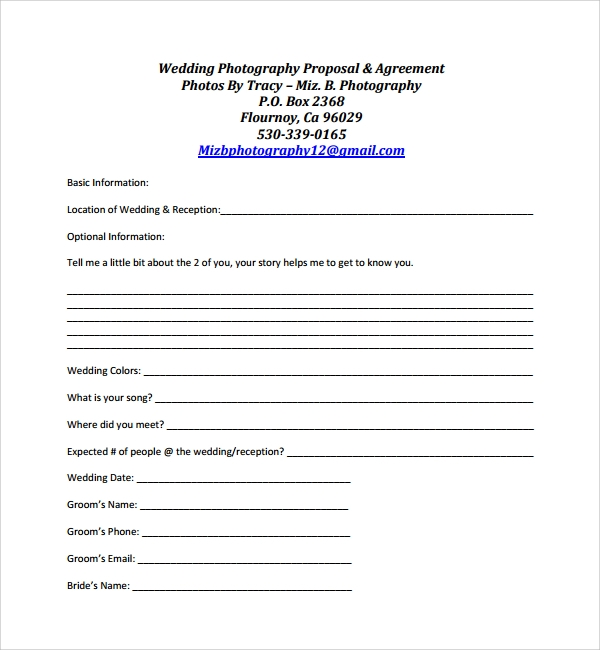 Sample Photography Proposal Template 9 Free Documents in PDF Word – Marriage Proposal Template