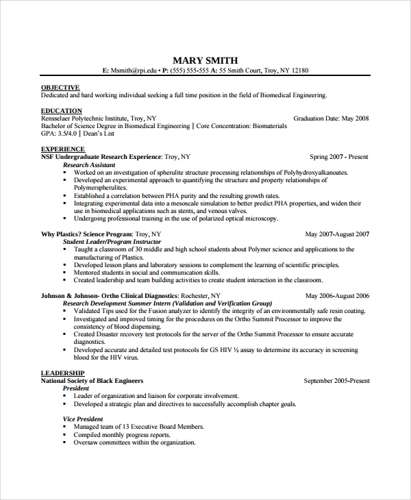 sample biomedical engineer resume