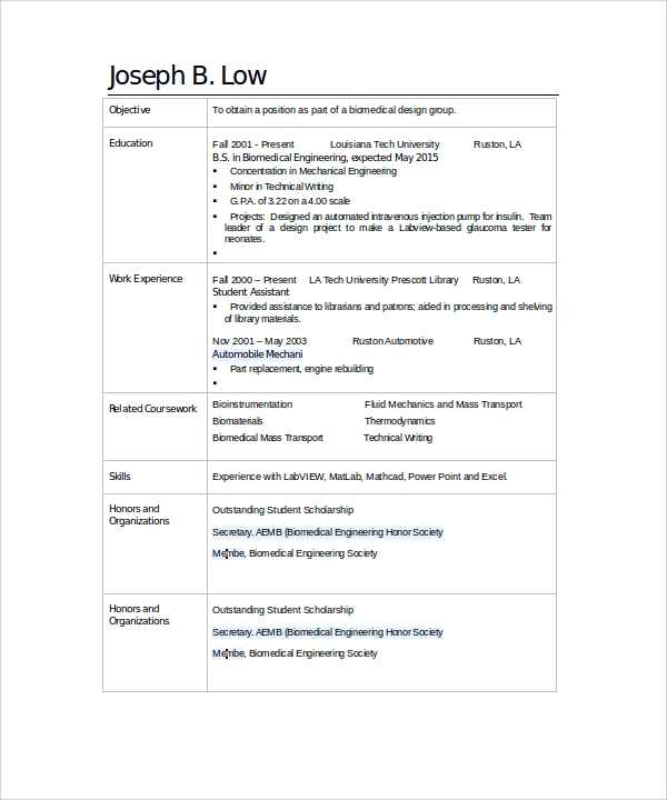 sle biomedical engineer resume 9 28 images bio