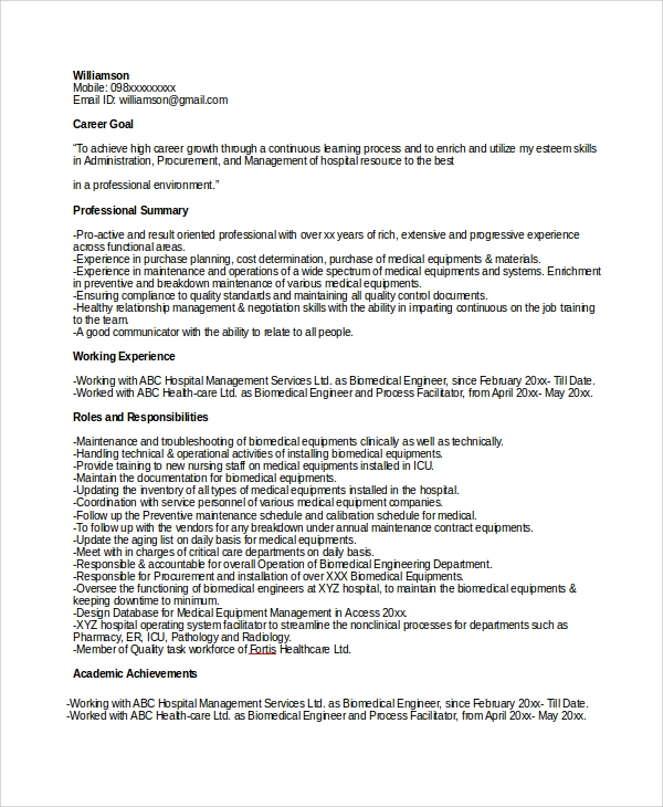 Sample Biomedical Engineer Resume   Free Documents Download In