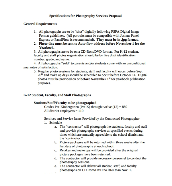 photography services proposal