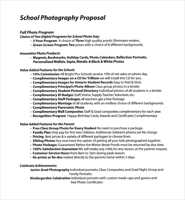 Sample Photography Proposal Template   Free Documents In Pdf Word