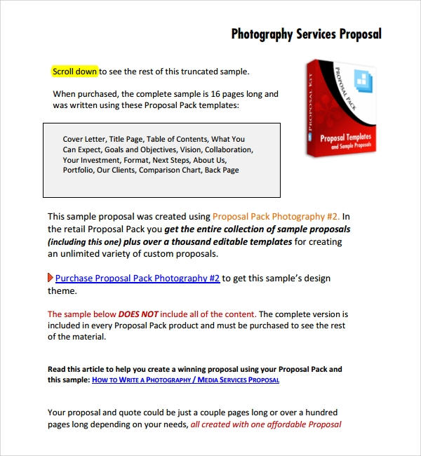 Sample Photography Proposal Template   Free Documents In  Word