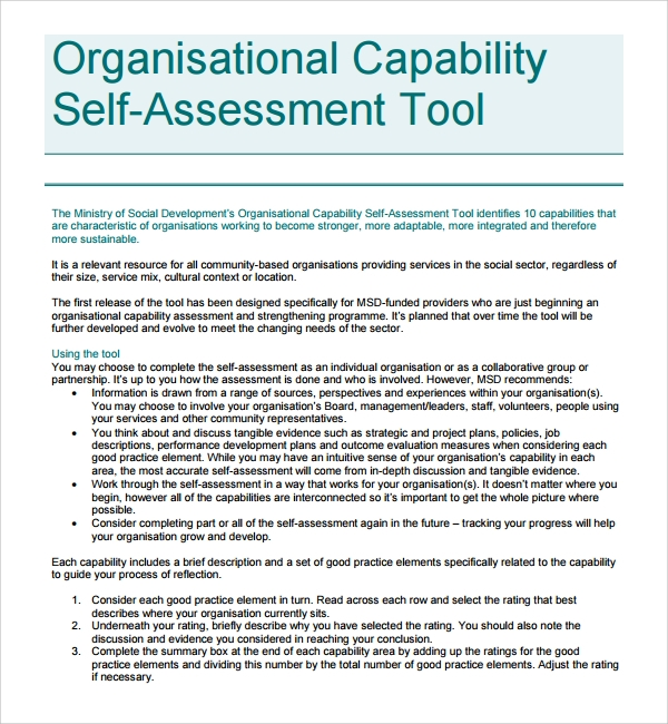 organizational assessment capability template