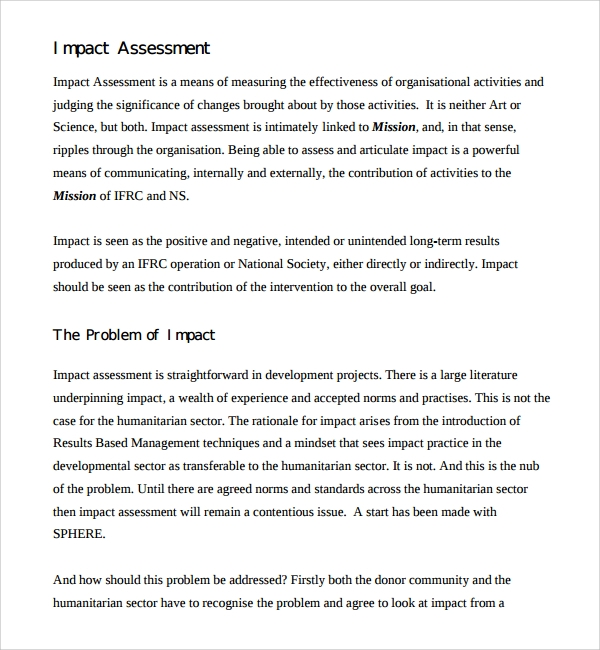 organizational impact assessment template