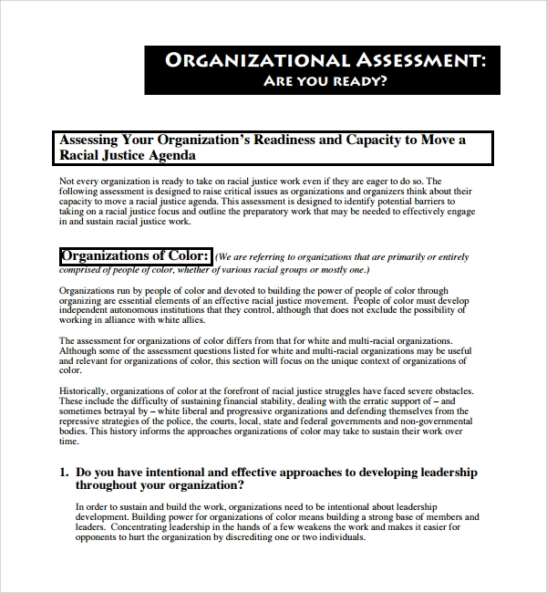 It Assessment Template Organizational Assessment Template Sample