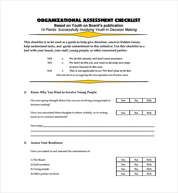 organizational assessment checklist