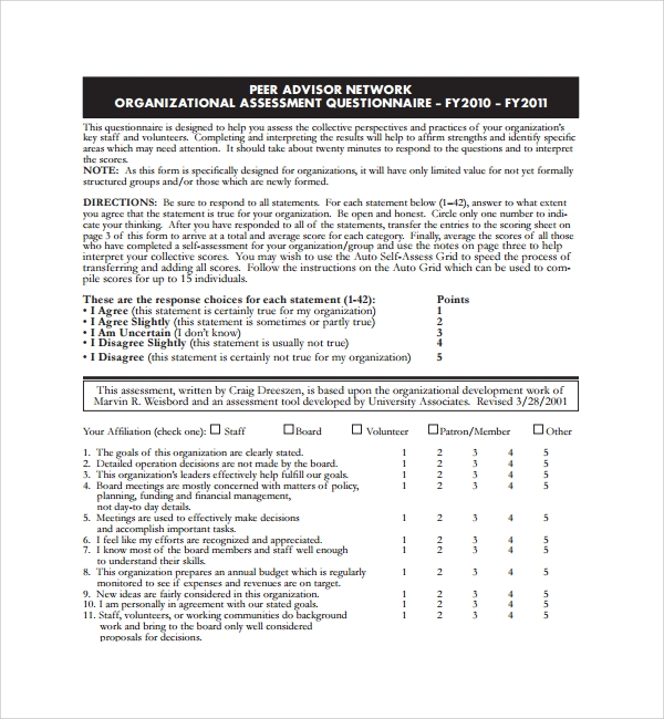 sample organizational assessment template