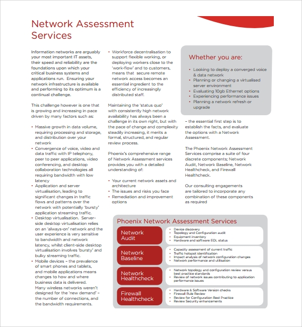 sample network assessment template