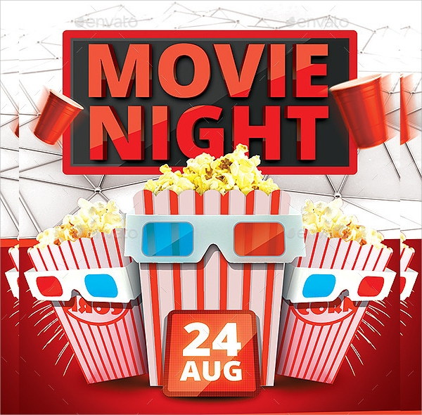 photoshop psd movie night flyer