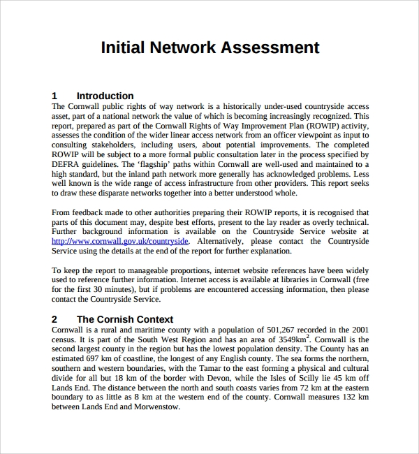 example of network assessment template