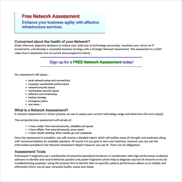Sample Network Assessment Template   Free Documents In Pdf