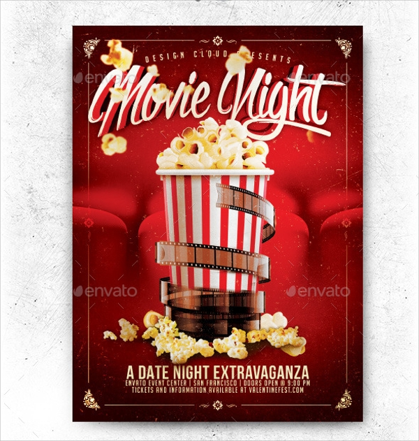 17 movie night flyer templates sample templates. Black Bedroom Furniture Sets. Home Design Ideas