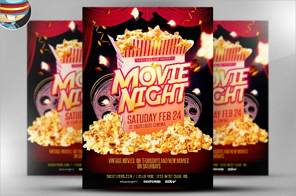 editable movie night flyer template