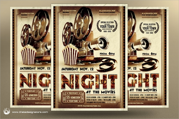 awesome movie night flyer template