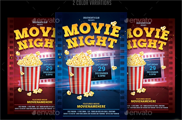 colorful movie night flyer