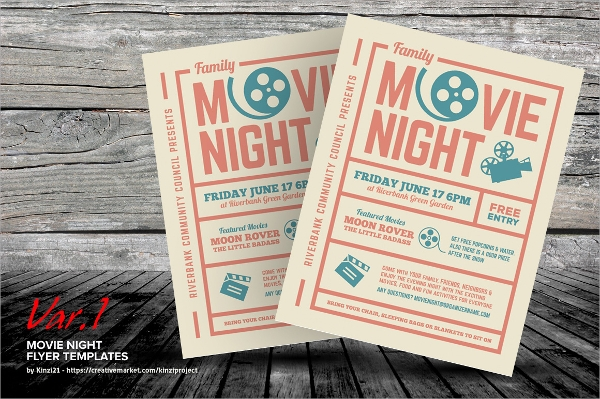 psd movie night flyer template
