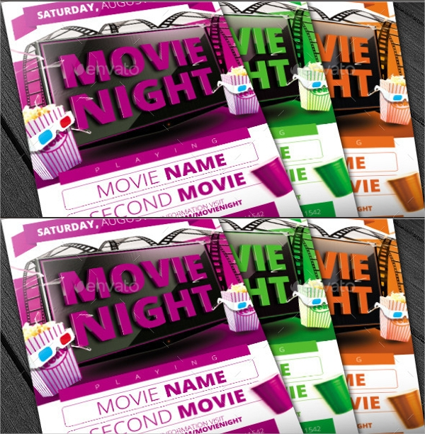 Wonderful Movie Night Flyer Template