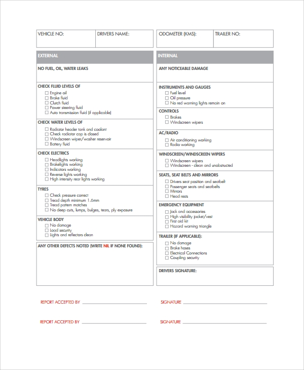 van checklist template - search results for vehicle inspection checklist