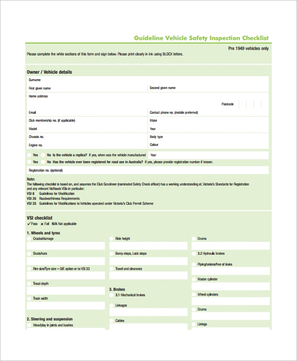 Sample Vehicle Inspection Checklist Template - 9+ Free Documents ...