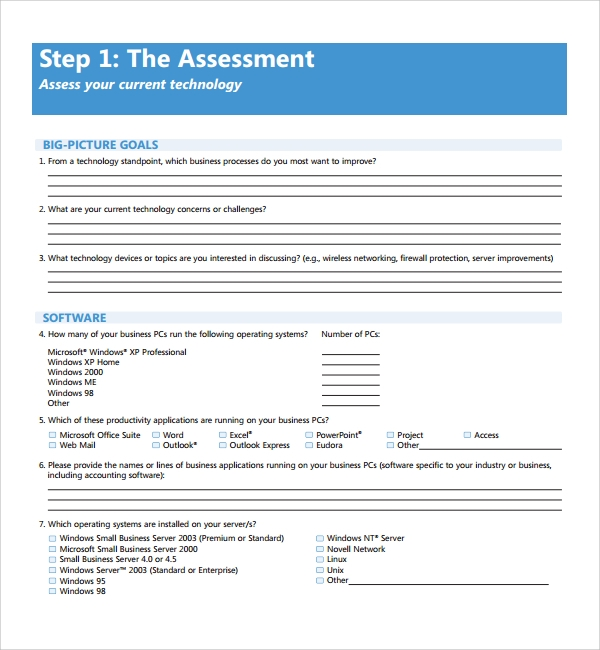 sample it assessment template 8 free documents in pdf word
