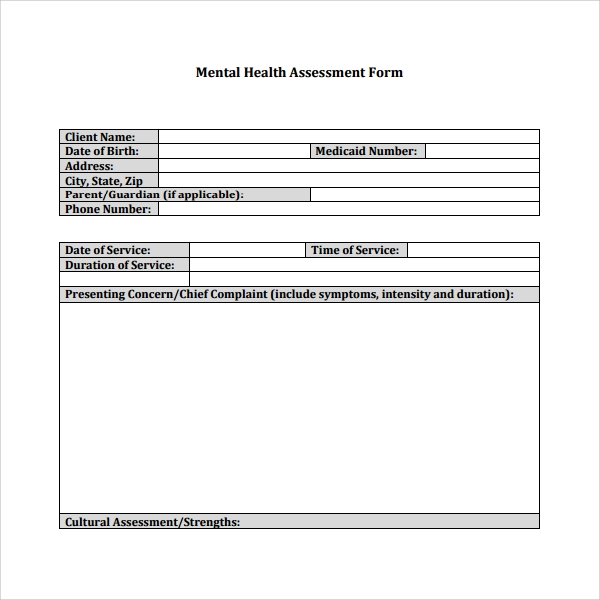 Nice Mental Health Assessment Template