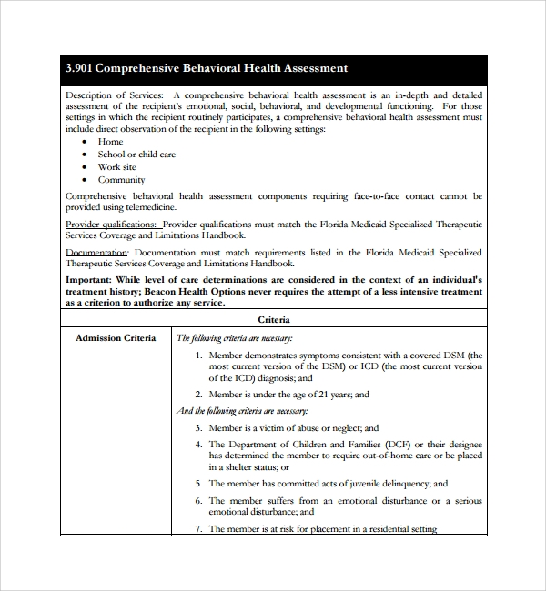 Sample Health Assessment Template   Free Documents In Pdf Word