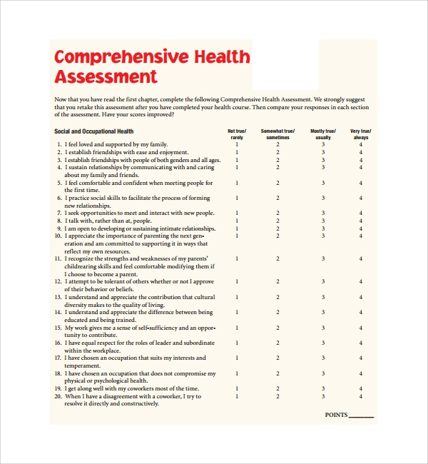 Comprehensive Health Assessment Template