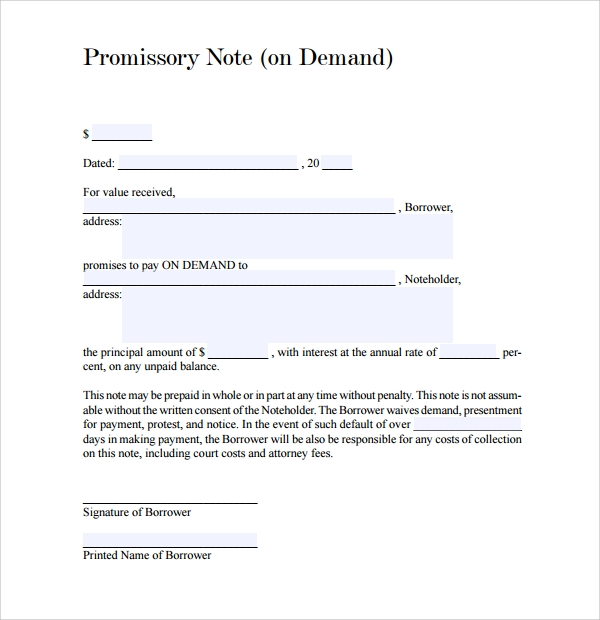 Sample Demand Promissory Note   Free Documents In Pdf Word