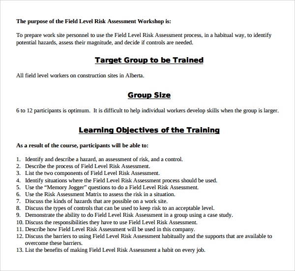 Sample Hazard Assessment Template 8 Free Documents in PDF Word – Process Risk Assessment Template