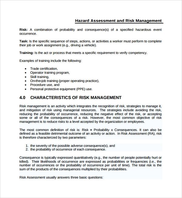 risk hazard assessment template