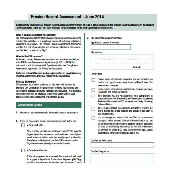 Sample Hazard Assessment Template 8 Free Documents in PDF Word – Hazard Assessment Template