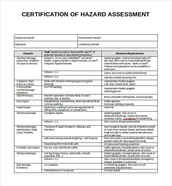 hazard assessment template doc