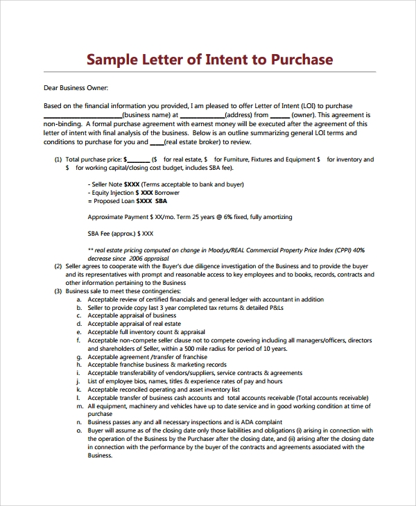 letter of intent to purchase commercial property
