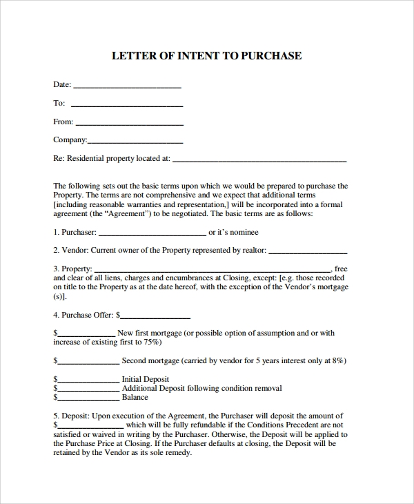 letter of intent to purchase residential property