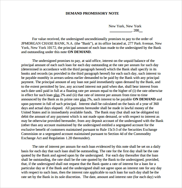 Sample Demand Promissory Note U2013 9+ Free Documents In PDF, Word