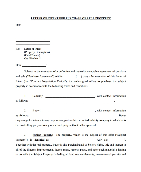 Letter Of Intent For Purchase Of Land