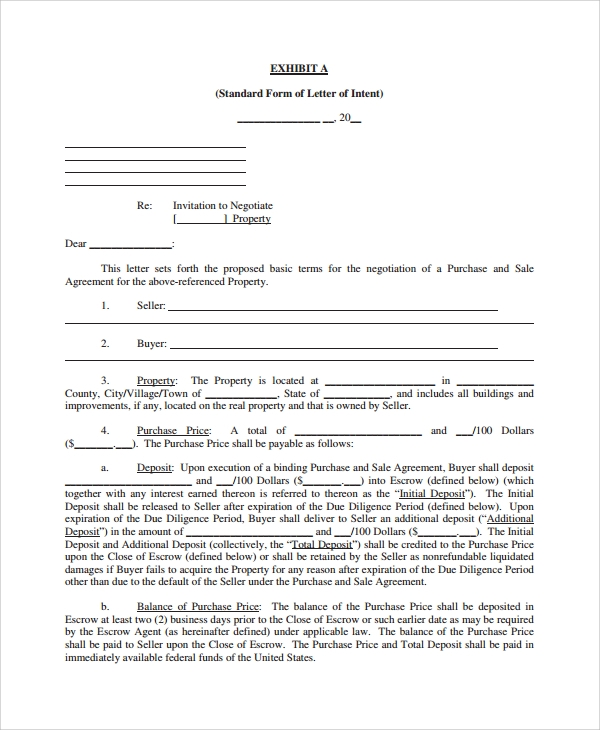 letter of intent for real estate purchase template - 9 letters of intent to purchase property pdf word