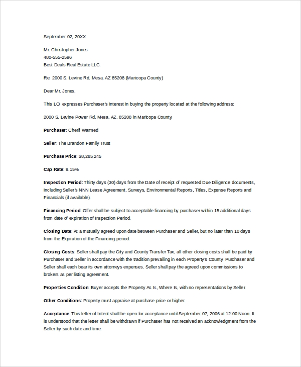 letter of intent to purchase property template - letter of intent for commercial property using a letter