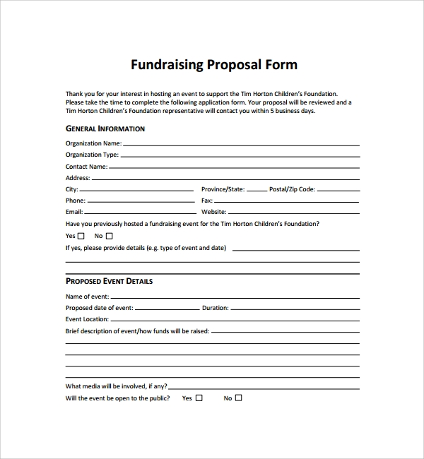 fundraising proposal form