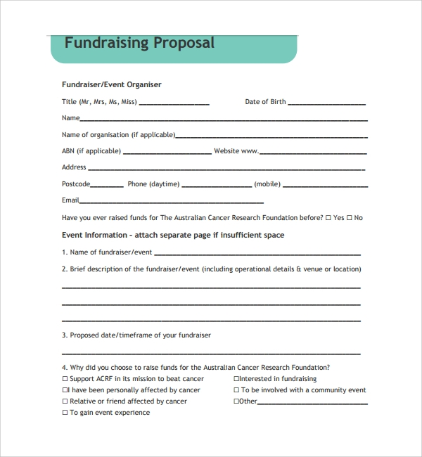 Sample Fundraising Proposal Template 7 Free Documents in PDF – Fundraiser Template Free