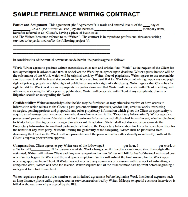 Writing service agreements
