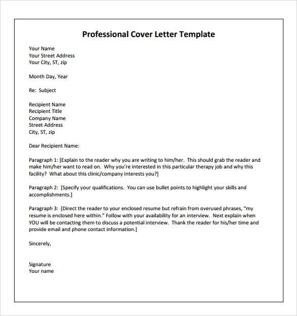 Physical Therapist Professional Cover Letter  How To Make A Professional Cover Letter
