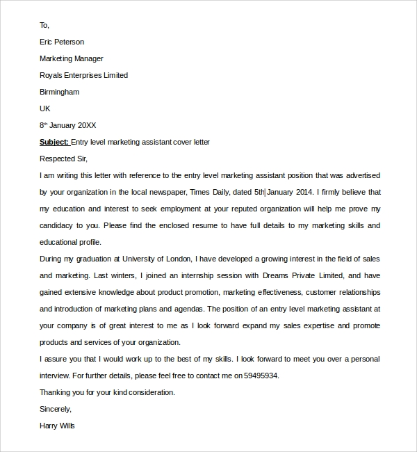 Sample Entry Level Marketing Cover Letter 7 Free Documents in – Marketing Assistant Cover Letter