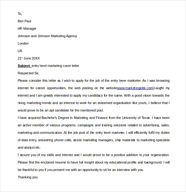 simple entry level marketing cover letter