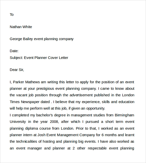 event planner cover letter sample