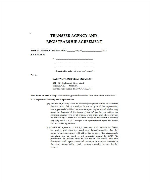 business transfer agency agreement